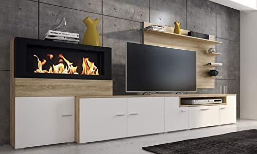 Comfort Home Innovation - Home Innovation- Moderne Wohnwand, Esszimmer mit Kamin Bioethanol, Schrankwand, Wohnzimmer, Kamineinsatz, mattweißer Oberfläche und gebürsteter Heller Eiche,Maße: 290x170x45