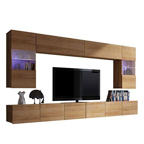 Moderne Wohnwand Calabrini I, Anbauwand, Mediawand, Hängevitrine, TV Lowboard, Wandregal, Wohnzimmerschrank, Fernsehschrank