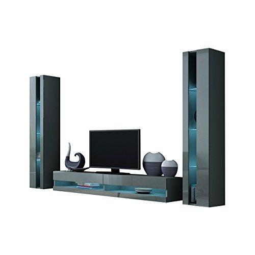 Wohnwand Vigo New III Anbauwand, Design Mediawand, Modernes Wohnzimmer Set, Hängeschrank TV Lowboard, Vitrine