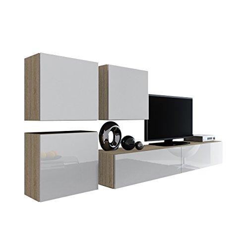 Wohnwand Vigo XXIII, Design Mediawand, Modernes Wohnzimmer Set, Anbauwand, Hängeschrank TV Lowboard,