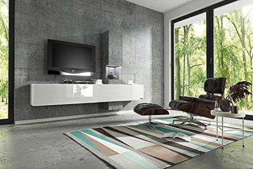 Wuun Wohnwand Schrankwand Anbauwand Tv-Board Muro weiß - Hochglanz & Naturtöne, 2-4 Werktage Lieferzeit, (260x185x40)/Beton-Optik