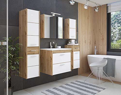 Ibiza Badmöbel-Set/Komplettbad 6-teilig in Weiß/Eiche Dekor, Waschtisch 60 cm, LED-Beleuchtung, Softclose