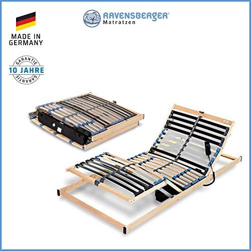 Ravensberger Matratzen® PURAMED ® Lattenrost | 7-Zonen-Birke-Lattenrahmen | 28 Leisten| Starr/Verstellbar/Elektrisch| KLAPPRAHMEN - Made IN Germany | 80-100 x 200 cm