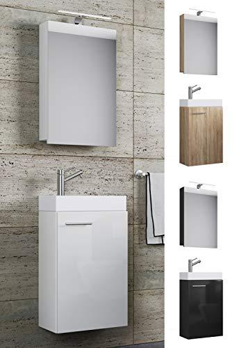 VCM Waschplatz Waschbecken Schrank + Spiegelschrank WC Gäste Toilette Badmöbel klein schmal Slito Spiegelschrank
