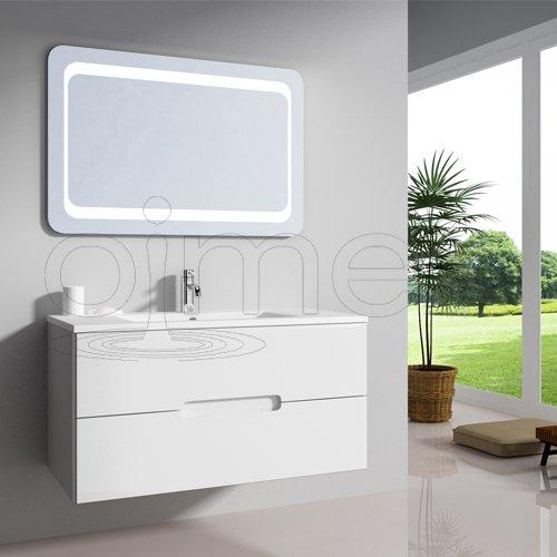 """oimexgmbh Design Badmöbel Set """"Tiana"""" Weiß Hochglanz Waschtisch 90cm inkl. Armatur LED Spiegel Badezimmermöbel Set mit Waschbecken"""