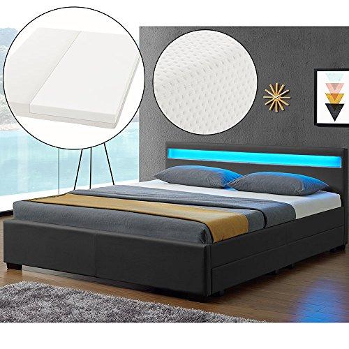 ArtLife LED Polsterbett Lyon 140 x 200 cm mit Bettkasten - Bettgestell inkl. Matratze & Lattenrost - Kunstleder - grau - Bett Jugendzimmer Möbel