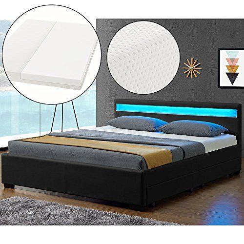 ArtLife LED Polsterbett Lyon 140 x 200 cm mit Bettkasten - Bettgestell inkl. Matratze & Lattenrost - Kunstleder - schwarz - Jugendbett Jugendzimmer Bett
