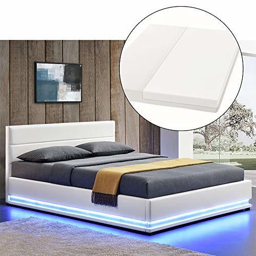 ArtLife LED Polsterbett Toulouse 140 × 200 cm mit Matratze, Lattenrost & Bettkasten - Kunstleder Bezug & Holz Gestell - weiß - Bett Jugendbett