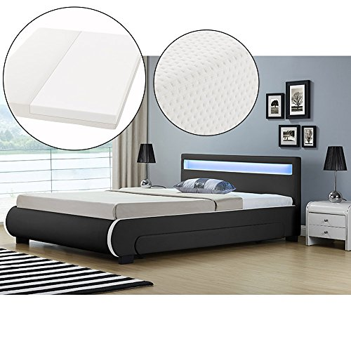 ArtLife Polsterbett Bilbao mit Kaltschaum-Matratze, Lattenrost, Bettkästen und LED Beleuchtung | 140 x 200 cm | schwarz | Bett Jugendbett