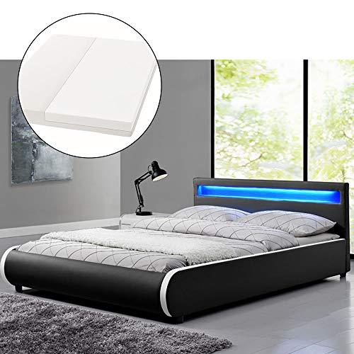 ArtLife Polsterbett Sevilla 140 x 200 cm - Französisches Bett mit Matratze, Lattenrost & LED - Holz & Kunstleder - schwarz - Jugendbett Gästebett