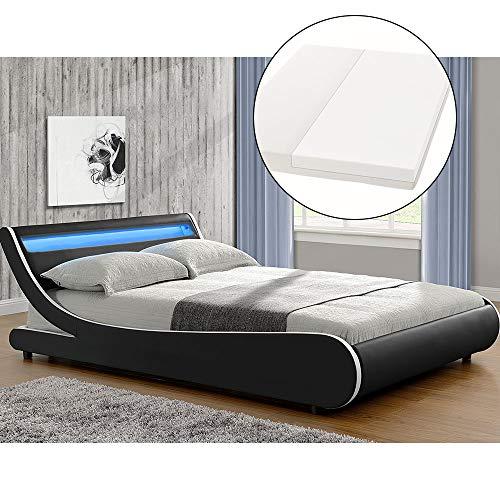 ArtLife Polsterbett Valencia komplett mit Kaltschaum-Matratze, Lattenrost und LED Beleuchtung im Kopfteil   180 x 200 cm   schwarz   Bett Bettgestell