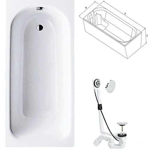Badewanne Stahl KOMPLETT SET 160 x 70cm + Wannenträger + Ablaufgarnitur weiß