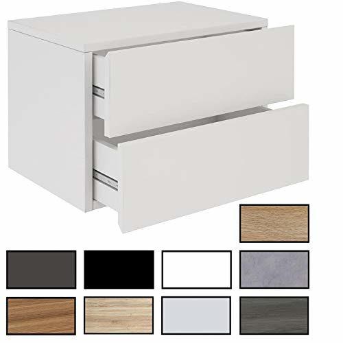 CARO-Möbel Nachtkommode ANNI Nachttisch Nachtschrank hängend Wandregal mit 2 Schubladen in 13 Farben