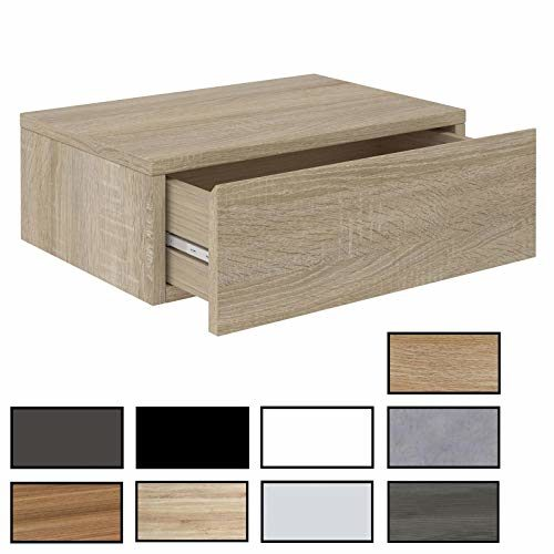 CARO-Möbel Wandregal Anne hängende Nachtkommode Wandboard Nachttisch mit 1 Schublade, griffloses Öffnen