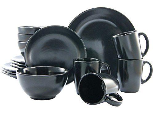 Creatable, 17544, Serie Black and White, 16 teilig schwarz-matt Kombiservice, Stein, 41 x 33 x 31 cm, Einheiten
