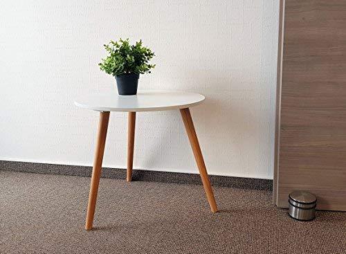 Design Couchtisch weiß - Retro Beistelltisch 48 cm - Holz Deko Tisch Sofatisch