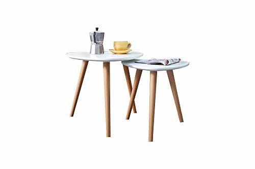 DuNord Design Beistelltisch Couchtisch 2er Set Stockholm Weiss Buche 70er Retro Design Tisch