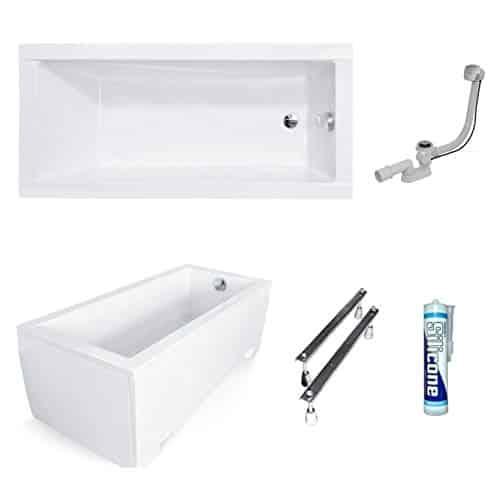 ECOLAM Badewanne Wanne Rechteck Modern Design Acryl weiß 160x70 cm + Schürze Ablaufgarnitur Ab- und Überlauf Automatik Füße Silikon Komplett-Set