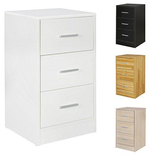FineBuy Nachtkonsole OLE Holz Nachttisch modern mit 3 Schubladen | Design Nachtkästchen 37,5 x 68 x 35 cm | Extra hohes Nachtschränkchen ...