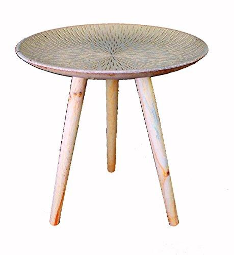 GMMH Design Retro Beistelltische 40 cm Holz Weiß Kaffeetisch Couchtisch Nachttisch