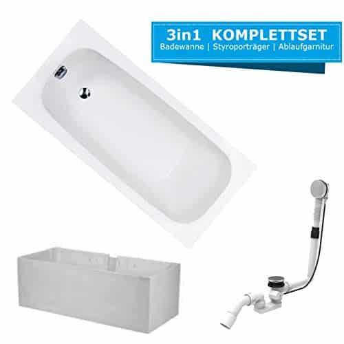 HOESCH Badewanne RIVIERA | Design Badewanne | Acryl | 160x70cm | KOMPLETTPAKET mit Styroporträger und Ablaufgarnitur ...
