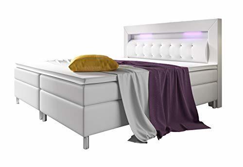 Home Collection24 Boxspringbett 180x200 cm mit Bonell Federkernmatratze Topper in H3 Hotelbett Doppelbett LED Beleuchtung (Weiß, 180 x 200 cm)