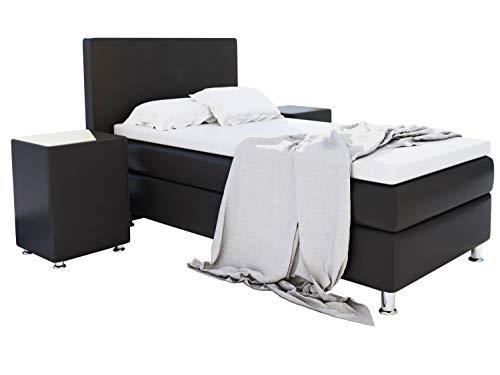 Home Collection24 GmbH Boxspringbett 90x200 cm mit Federkern-Matratze Topper in H3 Hotelbett Einzelbett aus hochwertigem Massivholz