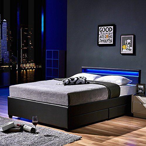 Home Deluxe - LED Bett - Nube - dunkelgrau - inkl. Schublade - Verschiedene Größen