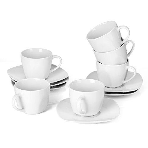 MALACASA, Serie Elisa, Tafelservice Kaffeeservice Schüssel Becher Tassen Teller Set für 6 Personen