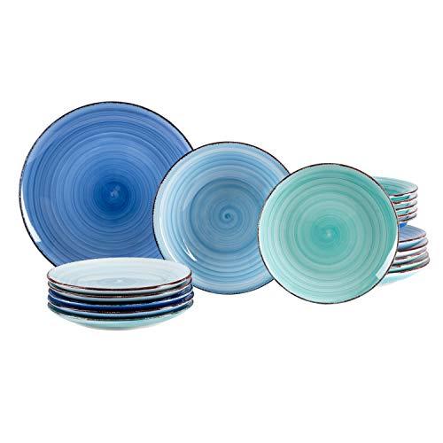 MamboCat 18tlg. Teller-Set Blue Baita | edles Steingut-Geschirr | großer Speiseteller + tiefer Suppenteller + Kuchenteller | 6 Blau-Töne | backofentauglich