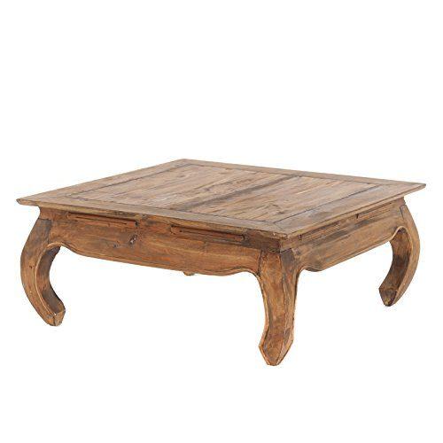 Retro OPIUMTISCH MAHA   80x80x35cm (LxBxH), braun, massivholz Couchtisch, Beistelltisch im Vintage Design, Wohnzimmertisch