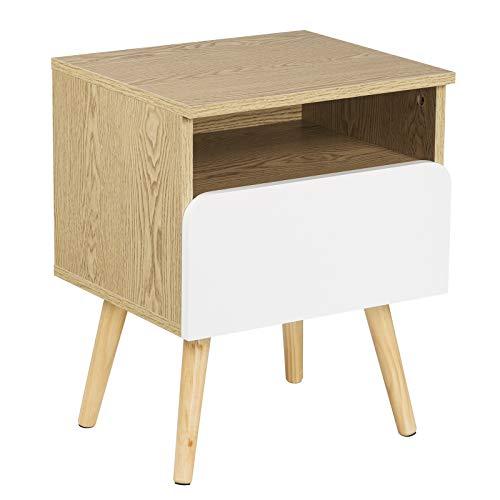 WOLTU® Nachttisch TSR58 Nachtkommode Nachtschrank Beistelltisch Sofatisch, mit Schublade und Offenem Fach, mit Beinen, Holz, 40x33,5x50cm(BxTxH)