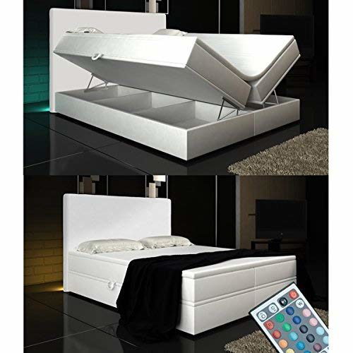Wohnen-Luxus Boxspringbett Weiß Lift 180x200 inkl. 2 Bettkästen Hotelbett Bett LED