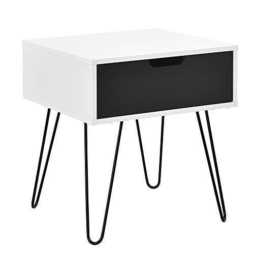 [en.casa] Beistelltisch 'Rosenheim' / Nachttisch/Nachtschrank/Telefontisch (weiß/grau) mit Schublade (40x40x44cm)
