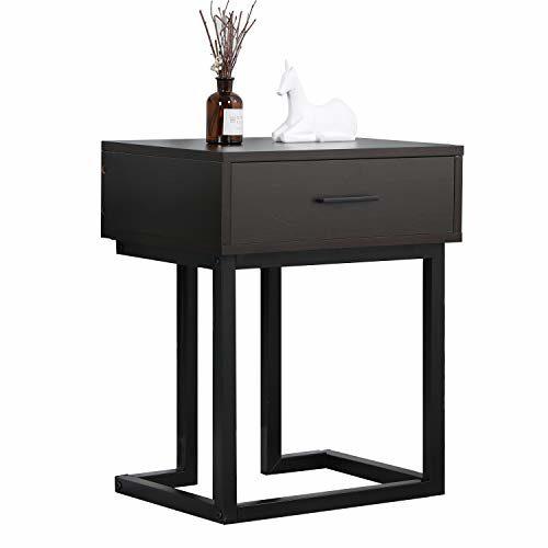 sogesfurniture Beistelltisch Nachttisch Nachtschrank mit Schublade, stabil mit Metallrahmen, Vintage Sofatisch Nachtkonsole Nachtkommode für Schlafzimmer, Wohnzimmer, BHEU-DX-326