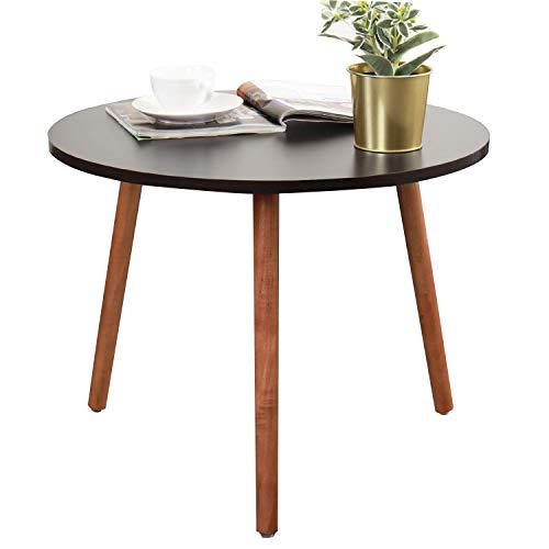 sogesfurniture Beistelltisch Wohnzimmertisch rund kaffeetisch Couchtisch Sofatisch Telefontisch Holz, perfekt für Esszimmer, Küche, Wohnzimmer, 55 cm Durchmesser, Schwarz CJ013-BK-BH