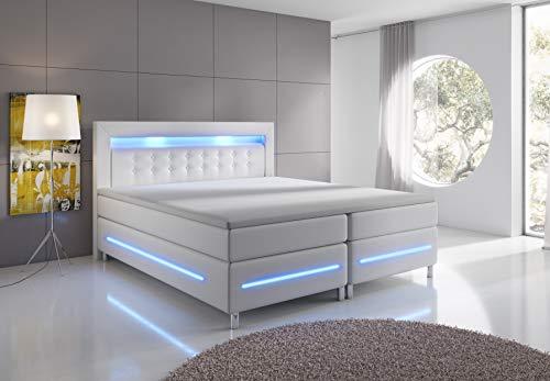 wohnenluxus Boxspringbett 180x200 Weiß VenedigX LED Hotelbett Kopflicht