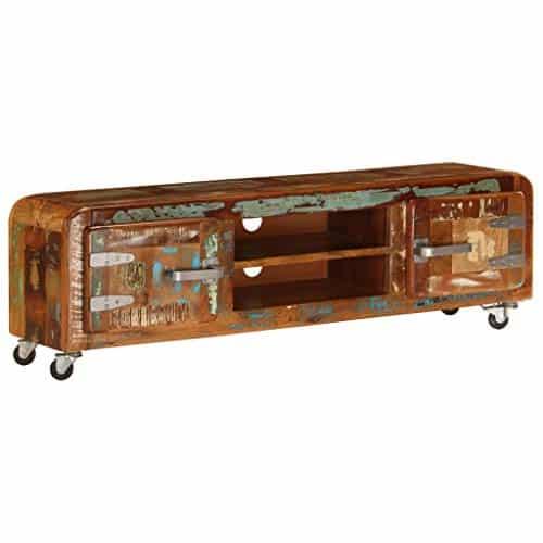 Festnight TV-Schrank mit Rollen | Vintage Fernsehtisch | TV Lowboard Tisch | Retro Fernsehschrank | Holz TV Board | Recyceltes Massivholz 120 x 30 x 36 cm