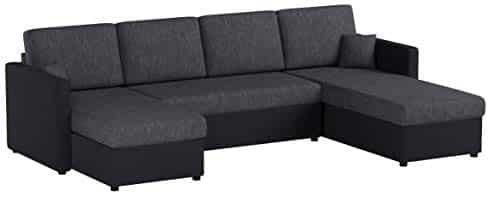 Oskar XXL Schlafsofa in Grau Schwarz - Stellmaß: 290 x 185 cm - Liegefläche: 270 x 140 cm -Sofa Couch Eckcouch Polsterecke Ecksofa Schlafcouch