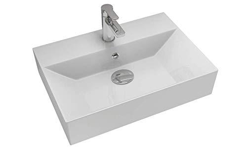 Aqua Bagno | Design Waschbecken | Aufsatzbecken | Aufsatz-Waschtisch | Dünner Rand | Hängewaschbecken | Rechteckig | hochwertige Keramik | Weiß | 42 cm Tief | 50/60/ 70/90 cm Breit