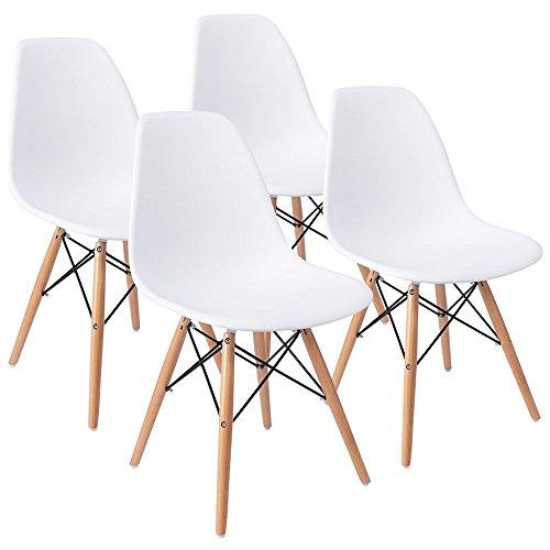 ArtDesign 4er Set Esszimmerstühle mit Massivholz Buche Bein, Retro Design Gepolsterter lStuhl Küchenstuhl Holz