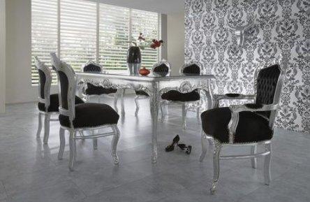 Barock Esszimmer Set 1 Tisch 6 Stühle - Prunkvolles Wohnambiente Schloss Möbel Esszimmerset