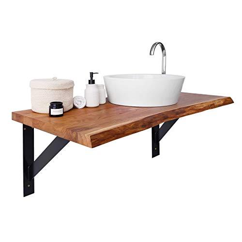 BestLoft Waschtischplatte Holz - Waschtisch Eiche massiv 40 mm dick mit Baumkante - Waschtischkonsole
