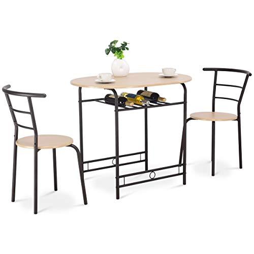 COSTWAY Küchenbar, 3tlg. Sitzgruppe Küche, Esstisch mit 2 Stühlen, Balkonset Farbwahl