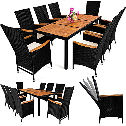 Casaria Poly Rattan Sitzgruppe 8+1 Schwarz 7cm Dicke Auflagen Tisch & Armlehnen aus Holz Neigbare Lehne Gartenmöbel Set