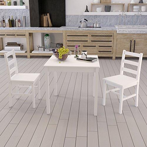 Dakea Essgruppe Tischgruppe Esstisch mit 2 Stühlen Set Weiß Tisch 75cm x 75cm x 73cm Holz für Wohnzimmer