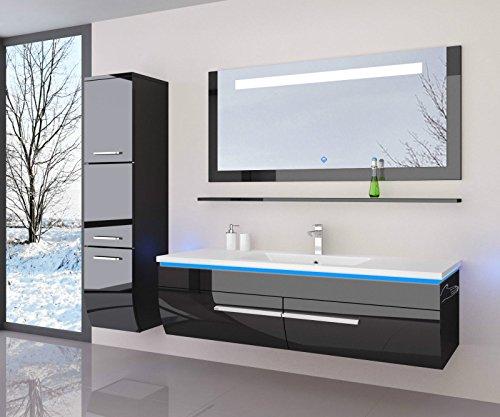 Danny Badmöbelset 120 cm Schwarz Vormontiert Badezimmermöbel Waschbeckenschrank mit Waschtisch Spiegel 1x Hochschrank mit LED Beleuchtung Hochglanz lackiert Homeline1