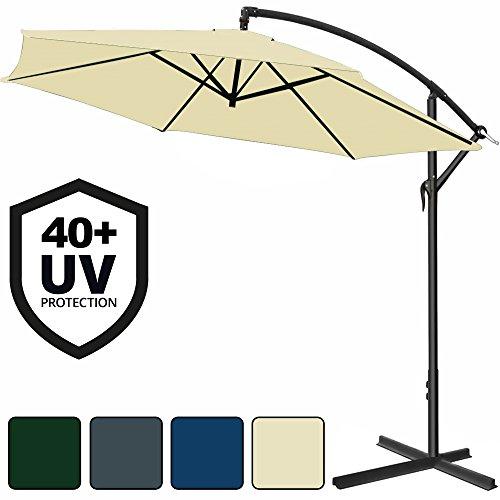 Deuba Alu Ampelschirm Ø 330 cm mit Kurbelvorrichtung und UV-Schutz 40+ Sonnenschirm Marktschirm Gartenschirm - Farbauswahl