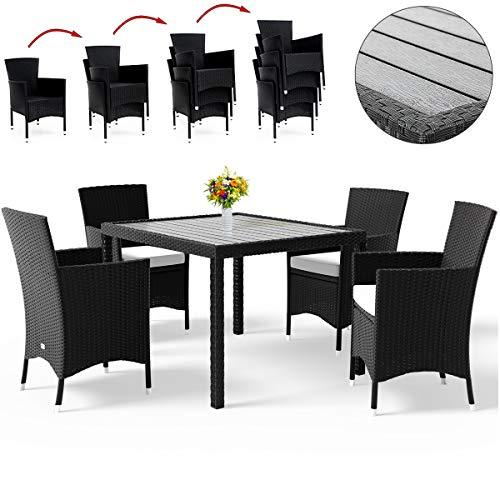 Deuba Poly Rattan Sitzgruppe mit WPC Tischplatte schwarz 4+1/6+1/8+1