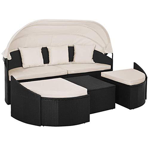 Deuba Poly Rattan Sonneninsel 230cm Oval Faltbares Dach 7cm Dicke Auflagen + 3 Kissen Schwarz - Gartenliege Lounge Liege Gartenmöbel Set